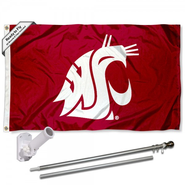 Our Washington State Cougars Crimson Flag Pole and Bracket Kit includes the flag as shown and the recommended flagpole and flag bracket. The flag is made of polyester, has quad-stitched flyends, and the NCAA Licensed team logos are double sided screen printed. The flagpole and bracket are made of rust proof aluminum and includes all hardware so this kit is ready to install and fly.
