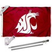 Washington State Cougars Crimson Flag Pole and Bracket Kit