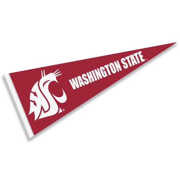 Washington State Cougars Crimson Pennant consists of our full size sports pennant which measures 12x30 inches, is constructed of felt, is single sided imprinted, and offers a pennant sleeve for insertion of a pennant stick, if desired. This Washington State Cougars Pennant Decorations is Officially Licensed by the selected university and the NCAA.