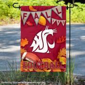 Washington State Cougars Fall Football Autumn Leaves Decorative Garden Flag