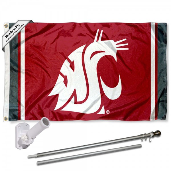 Our Washington State Cougars Flag Pole and Bracket Kit includes the flag as shown and the recommended flagpole and flag bracket. The flag is made of polyester, has quad-stitched flyends, and the NCAA Licensed team logos are double sided screen printed. The flagpole and bracket are made of rust proof aluminum and includes all hardware so this kit is ready to install and fly.
