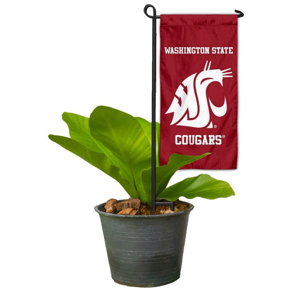 "Washington State Cougars Flower Pot Topper Flag kit includes our 4""x8"" mini garden banner and 6"" x 14"" mini garden banner stand. The mini flag is made of 1-ply polyester, has screen printed logos and the garden stand is made of steel and powder coated black. This kit is NCAA Officially Licensed by the selected college or university."