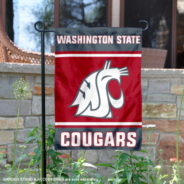 Washington State Cougars Garden Flag is 13x18 inches in size, is made of 2-layer polyester, screen printed logos and lettering. Available with Same Day Express Shipping, Our Washington State Cougars Garden Flag is officially licensed and approved by the NCAA.