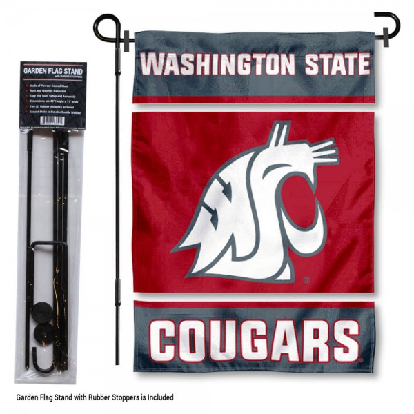 "Washington State Cougars Garden Flag and Stand kit includes our 13""x18"" garden banner which is made of 2 ply poly with liner and has screen printed licensed logos. Also, a 40""x17"" inch garden flag stand is included so your Washington State Cougars Garden Flag and Stand is ready to be displayed with no tools needed for setup. Fast Overnight Shipping is offered and the flag is Officially Licensed and Approved by the selected team."