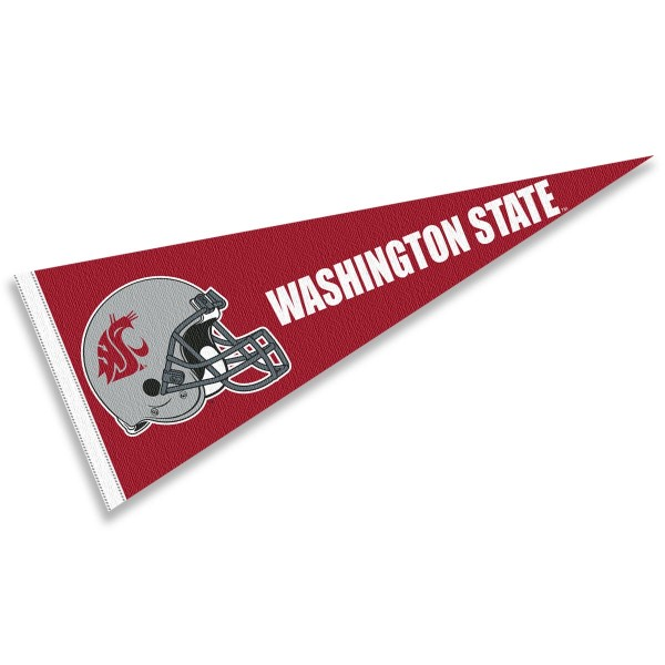 Washington State Cougars Helmet Pennant consists of our full size sports pennant which measures 12x30 inches, is constructed of felt, is single sided imprinted, and offers a pennant sleeve for insertion of a pennant stick, if desired. This Washington State Cougars Pennant Decorations is Officially Licensed by the selected university and the NCAA.