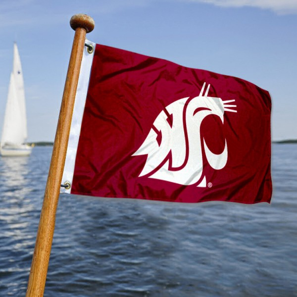 Washington State Cougars Nautical Flag measures 12x18 inches, is made of two-ply polyesters, offers quadruple stitched flyends for durability, has two metal grommets, and is viewable from both sides. Our Washington State Cougars Nautical Flag is officially licensed by the selected university and the NCAA and can be used as a motorcycle flag, golf cart flag, or ATV flag