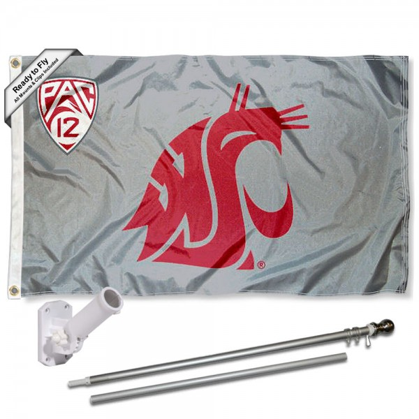 Our Washington State Cougars PAC 12 Flag Pole and Bracket Kit includes the flag as shown and the recommended flagpole and flag bracket. The flag is made of polyester, has quad-stitched flyends, and the NCAA Licensed team logos are double sided screen printed. The flagpole and bracket are made of rust proof aluminum and includes all hardware so this kit is ready to install and fly.