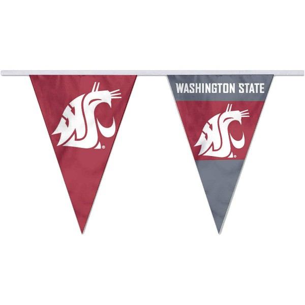 Washington State Cougars Pennant String Flags are 35 feet in total length, are made of polyester, includes 12x8 inch streamers, and are screen printed. Each is Offically Licensed.