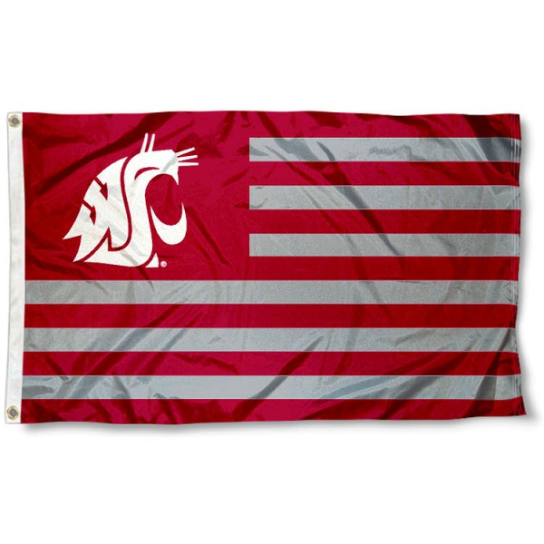 Washington State Cougars Striped Flag measures 3'x5', is made of polyester, offers double stitched flyends for durability, has two metal grommets, and is viewable from both sides with a reverse image on the opposite side. Our Washington State Cougars Striped Flag is officially licensed by the selected school university and the NCAA.
