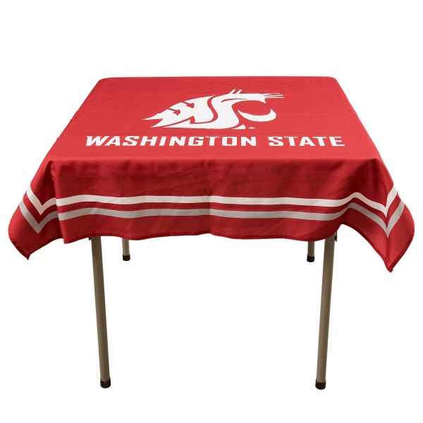Washington State Cougars Table Cloth measures 48 x 48 inches, is made of 100% Polyester, seamless one-piece construction, and is perfect for any tailgating table, card table, or wedding table overlay. Each includes Officially Licensed Logos and Insignias.
