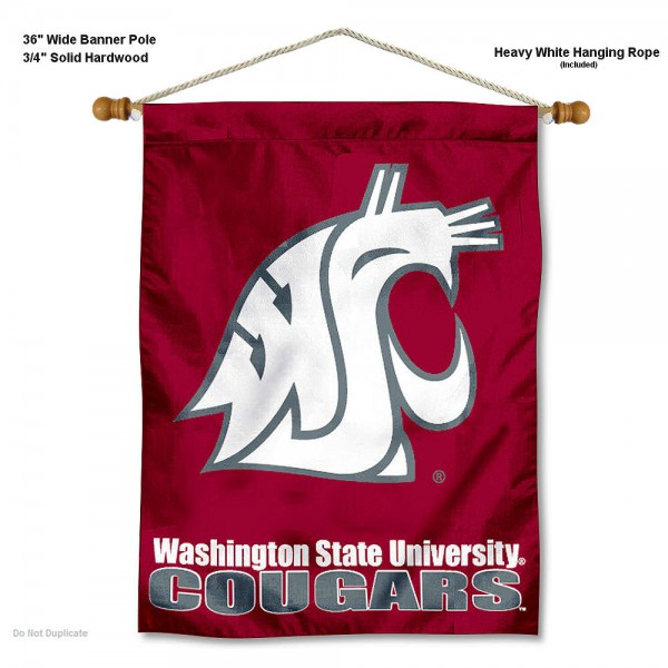 "Washington State Cougars Wall Banner is constructed of polyester material, measures a large 30""x40"", offers screen printed athletic logos, and includes a sturdy 3/4"" diameter and 36"" wide banner pole and hanging cord. Our Washington State Cougars Wall Banner is Officially Licensed by the selected college and NCAA."