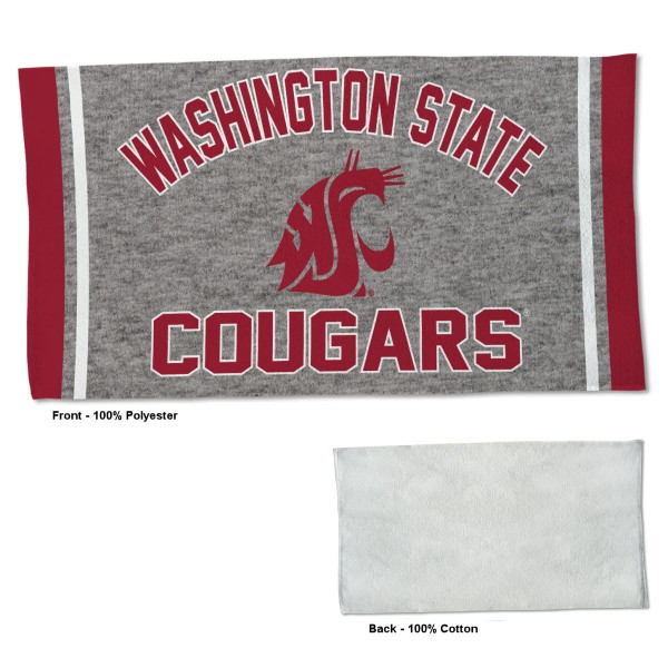 Washington State Cougars Workout Exercise Towel measures 22x42 inches, is made of 100% Polyester on the front and 100% Cotton on the back, has double stitched sewing perimeter, and Graphics and Logos, as shown. Our Washington State Cougars Workout Exercise Towel is officially licensed by the selected university and the NCAA. Also, machine washable and dryer safe.