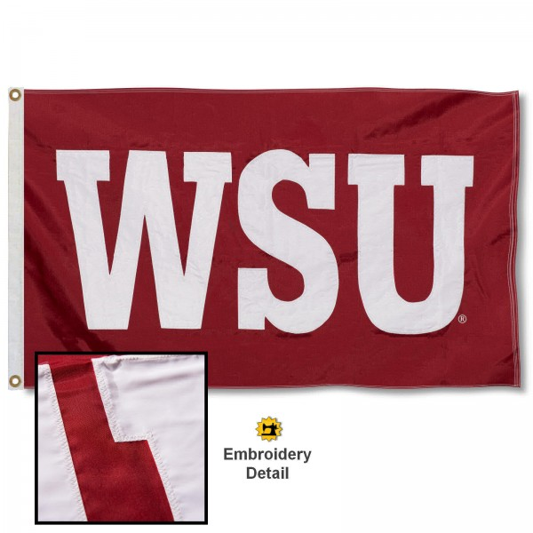 Washington State Cougars WSU Nylon Embroidered Flag measures 3'x5', is made of 100% nylon, has quadruple flyends, two metal grommets, and has double sided appliqued and embroidered University logos. These Washington State Cougars P Logo 3x5 Flags are officially licensed by the selected university and the NCAA.
