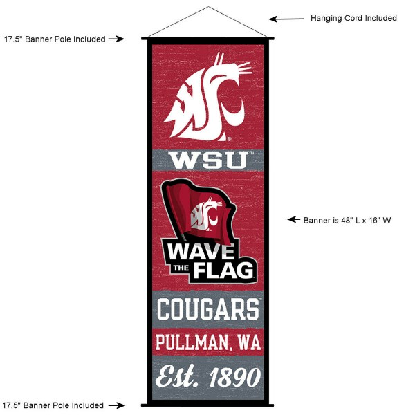 "This ""ready to hang"" Washington State University Decor and Banner is made of polyester material, measures a large 17.5"" x 48"", offers screen printed athletic logos, and includes both top and bottom 3/4"" diameter plastic banner poles and hanging cord. Our Washington State University D�cor and Banner is Officially Licensed by the selected college and NCAA."