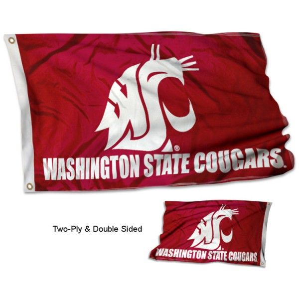 Washington State University Flag measures 3'x5', is made of 2 layer 100% polyester, has quadruple stitched flyends for durability, and is readable correctly on both sides. Our Washington State University Flag is officially licensed by the university, school, and the NCAA