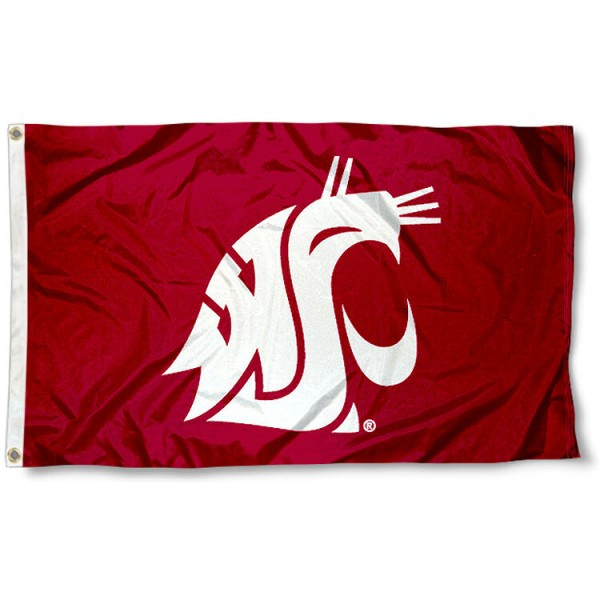 Washington State University Flag measures 3'x5', is made of 100% poly, has quadruple stitched sewing, two metal grommets, and has double sided Washington State University logos. Our Washington State University Flag is officially licensed by the selected university and the NCAA