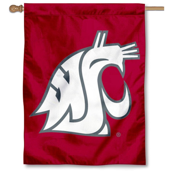 Washington State University House Flag is a vertical house flag which measures 30x40 inches, is made of 100% polyester, offers double sided screen printed college team insignias, and has a top pole sleeve to hang vertically. Our Washington State University House Flag is officially licensed by the selected university and the NCAA