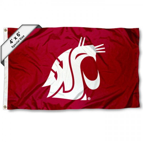 Washington State University Large 4x6 Flag measures 4x6 feet, is made thick woven polyester, has quadruple stitched flyends, two metal grommets, and offers screen printed NCAA Washington State University Large athletic logos and insignias. Our Washington State University Large 4x6 Flag is officially licensed by Washington State University and the NCAA.