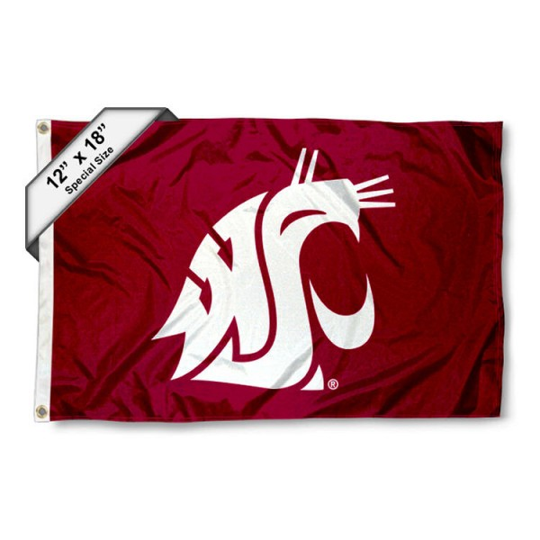 Washington State University Mini Flag is 12x18 inches, polyester, offers quadruple stitched flyends for durability, has two metal grommets, and is double sided. Our mini flags for Washington State University are licensed by the university and NCAA and can be used as a boat flag, motorcycle flag, golf cart flag, or ATV flag