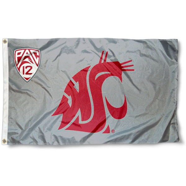 Washington State University Pac 12 Flag measures 3'x5', is made of 100% poly, has quadruple stitched sewing, two metal grommets, and has double sided Team University logos. Our Washington State University Pac 12 Flag is officially licensed by the selected university and the NCAA.