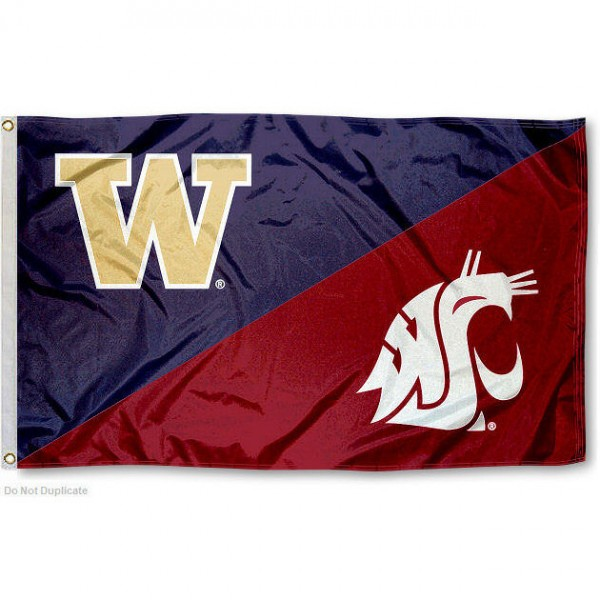 Washington State vs. UW House Divided 3x5 Flag sizes at 3x5 feet, is made of 100% polyester, has quadruple-stitched fly ends, and the university logos are screen printed into the Washington State vs. UW House Divided 3x5 Flag. The Washington State vs. UW House Divided 3x5 Flag is approved by the NCAA and the selected universities.