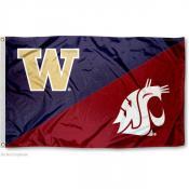Washington State vs. UW House Divided 3x5 Flag