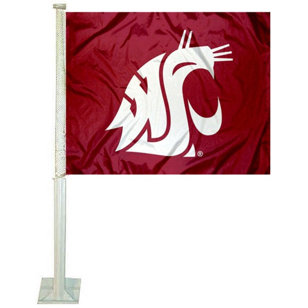 Washington State WSU Car Window Flag measures 12x15 inches, is constructed of sturdy 2 ply polyester, and has screen printed school logos which are readable and viewable correctly on both sides. Washington State WSU Car Window Flag is officially licensed by the NCAA and selected university.