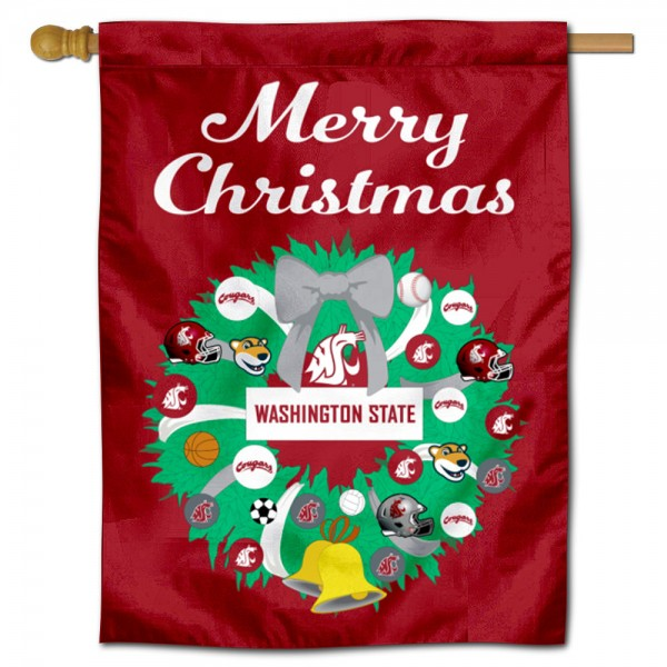 Washington State WSU Happy Holidays Banner Flag measures 30x40 inches, is made of poly, has a top hanging sleeve, and offers dye sublimated Washington State WSU logos. This Decorative Washington State WSU Happy Holidays Banner Flag is officially licensed by the NCAA.