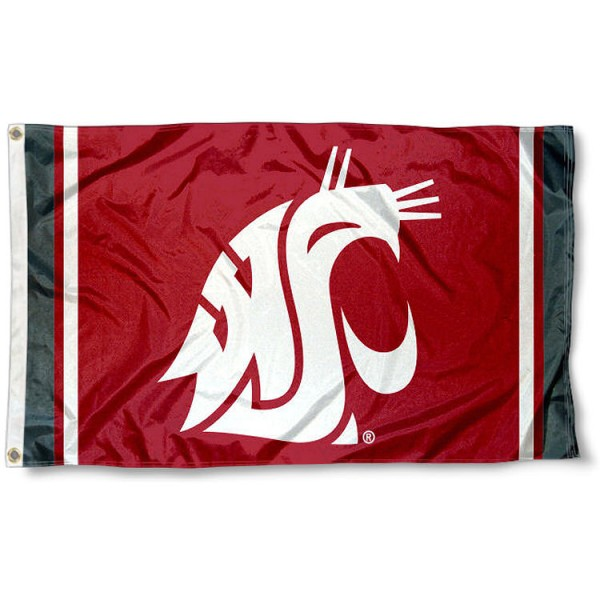 Washington State WSU Jersey Stripes Flag measures 3x5 feet, is made of 100% polyester, offers quadruple stitched flyends, has two metal grommets, and offers screen printed NCAA team logos and insignias. Our Washington State WSU Jersey Stripes Flag is officially licensed by the selected university and NCAA.