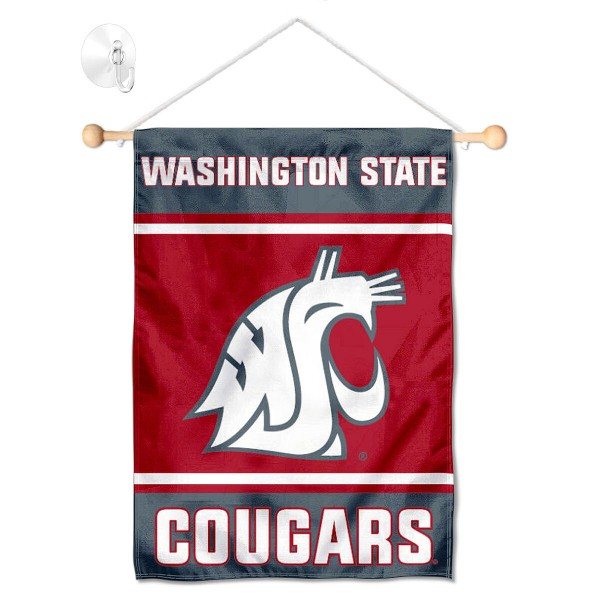 """Washington State WSU Window and Wall Banner kit includes our 13""""x18"""" garden banner which is made of 2 ply poly with liner and has screen printed licensed logos. Also, a 17"""" wide banner pole with suction cup is included so your Washington State WSU Window and Wall Banner is ready to be displayed with no tools needed for setup. Fast Overnight Shipping is offered and the flag is Officially Licensed and Approved by the selected team."""