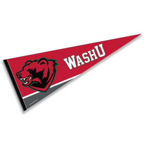 Washington University St. Louis Pennant consists of our full size sports pennant which measures 12x30 inches, is constructed of felt, is single sided imprinted, and offers a pennant sleeve for insertion of a pennant stick, if desired. This WUSTL Bears Pennant Decorations is Officially Licensed by the selected university and the NCAA.