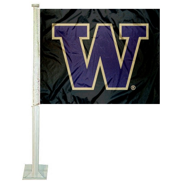 Washington UW Huskies Car Window Flag measures 12x15 inches, is constructed of sturdy 2 ply polyester, and has screen printed school logos which are readable and viewable correctly on both sides. Washington UW Huskies Car Window Flag is officially licensed by the NCAA and selected university.