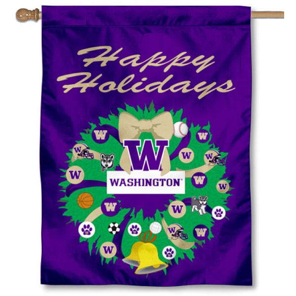 Washington UW Huskies Happy Holidays Banner Flag measures 30x40 inches, is made of poly, has a top hanging sleeve, and offers dye sublimated Washington UW Huskies logos. This Decorative Washington UW Huskies Happy Holidays Banner Flag is officially licensed by the NCAA.