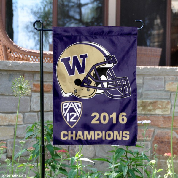 Washington UW Huskies Pac 12 2016 Champs Yard Flag is 13x18 inches in size, is made of 2-layer polyester, screen printed logos and lettering.