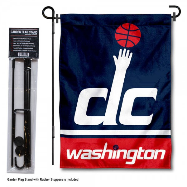 """Washington Wizards Garden Flag and Flagpole Stand kit includes our 12.5""""x18"""" garden banner which is made of 2 ply poly with liner and has screen printed licensed logos. Also, a 40""""x17"""" inch garden flag stand is included so your Washington Wizards Garden Flag and Flagpole Stand is ready to be displayed with no tools needed for setup. Fast Overnight Shipping is offered and the flag is Officially Licensed and Approved by the selected team."""