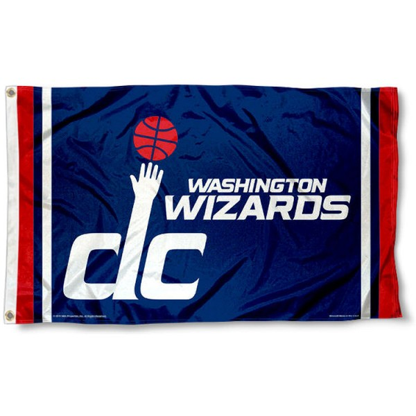 The Washington Wizards Team Flag is four-stitched bordered, double sided, made of poly, 3'x5', and has two grommets. These Washington Wizards Team Flags are NBA Genuine Merchandise.