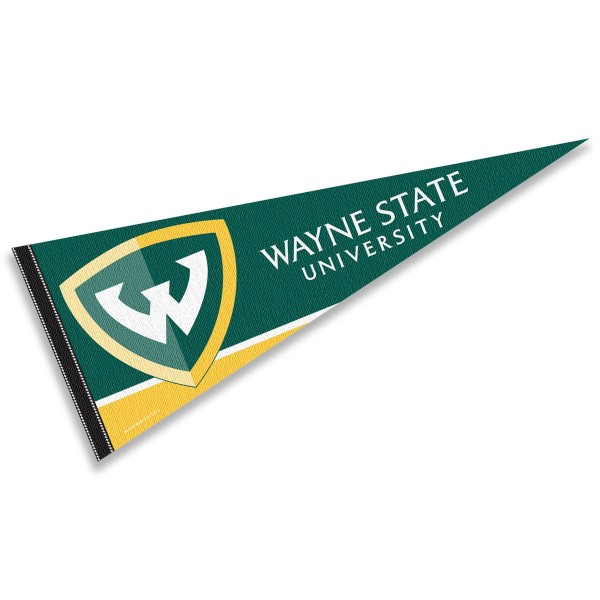 Wayne State University Pennant consists of our full size sports pennant which measures 12x30 inches, is constructed of felt, is single sided imprinted, and offers a pennant sleeve for insertion of a pennant stick, if desired. This WSU Warriors Pennant Decorations is Officially Licensed by the selected university and the NCAA.