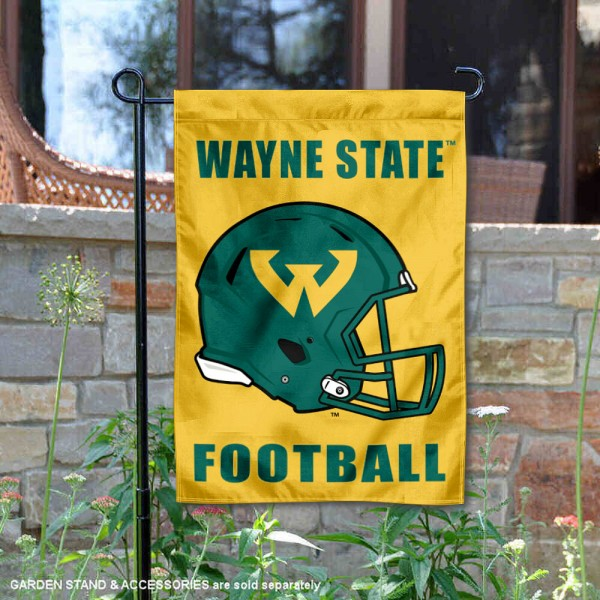 Wayne State Warriors Helmet Yard Garden Flag is 13x18 inches in size, is made of 2-layer polyester with Liner, screen printed university athletic logos and lettering, and is readable and viewable correctly on both sides. Available same day shipping, our Wayne State Warriors Helmet Yard Garden Flag is officially licensed and approved by the university and the NCAA.