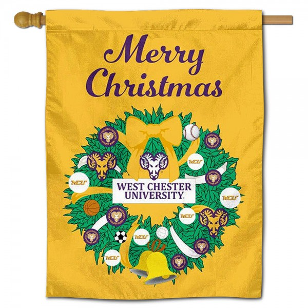 WCU Golden Rams Happy Holidays Banner Flag measures 30x40 inches, is made of poly, has a top hanging sleeve, and offers dye sublimated WCU Golden Rams logos. This Decorative WCU Golden Rams Happy Holidays Banner Flag is officially licensed by the NCAA.