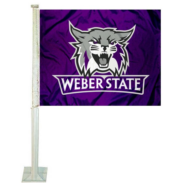 Weber State Wildcats Logo Car Flag measures 12x15 inches, is constructed of sturdy 2 ply polyester, and has screen printed school logos which are readable and viewable correctly on both sides. Weber State Wildcats Logo Car Flag is officially licensed by the NCAA and selected university.