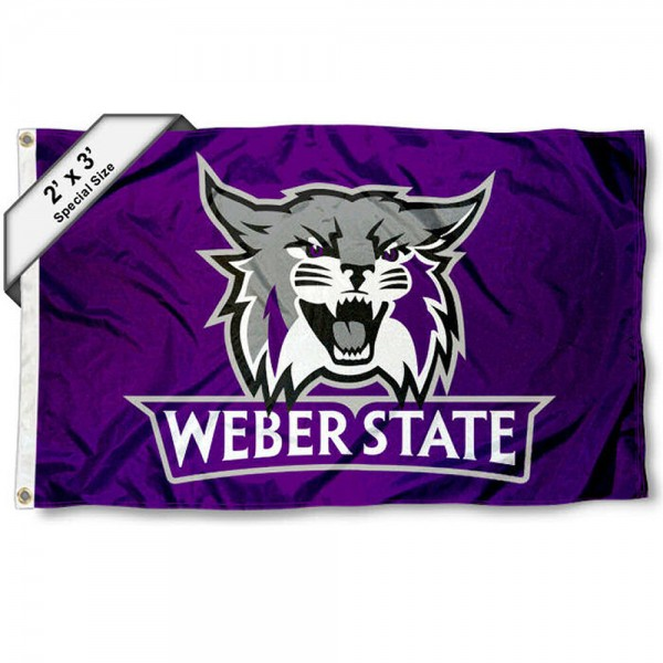 Weber State Wildcats Small 2'x3' Flag measures 2x3 feet, is made of 100% polyester, offers quadruple stitched flyends, has two brass grommets, and offers printed Weber State Wildcats logos, letters, and insignias. Our 2x3 foot flag is Officially Licensed by the selected university.