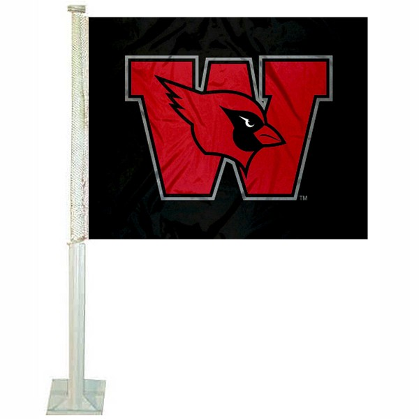 Wesleyan Cardinals Car Flag measures 12x15 inches, is constructed of sturdy 2 ply polyester, and has screen printed school logos which are readable and viewable correctly on both sides. Wesleyan Cardinals Car Flag is officially licensed by the NCAA and selected university.