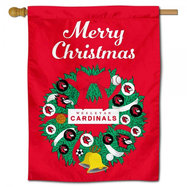 Wesleyan Cardinals Happy Holidays Banner Flag measures 30x40 inches, is made of poly, has a top hanging sleeve, and offers dye sublimated Wesleyan Cardinals logos. This Decorative Wesleyan Cardinals Happy Holidays Banner Flag is officially licensed by the NCAA.