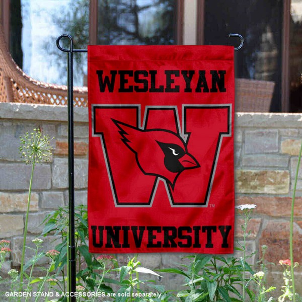 Wesleyan University Garden Flag is 13x18 inches in size, is made of 2-layer polyester, screen printed university athletic logos and lettering, and is readable and viewable correctly on both sides. Available same day shipping, our Wesleyan University Garden Flag is officially licensed and approved by the university and the NCAA.