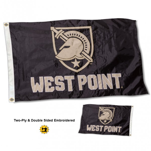 West Point Athena Shield Flag measures 3'x5' in size, is made of 2 layer embroidered 100% nylon, has quadruple stitched fly ends for durability, and is viewable and readable correctly on both sides. Our West Point Athena Shield Flag is officially licensed by the university, school, and the NCAA