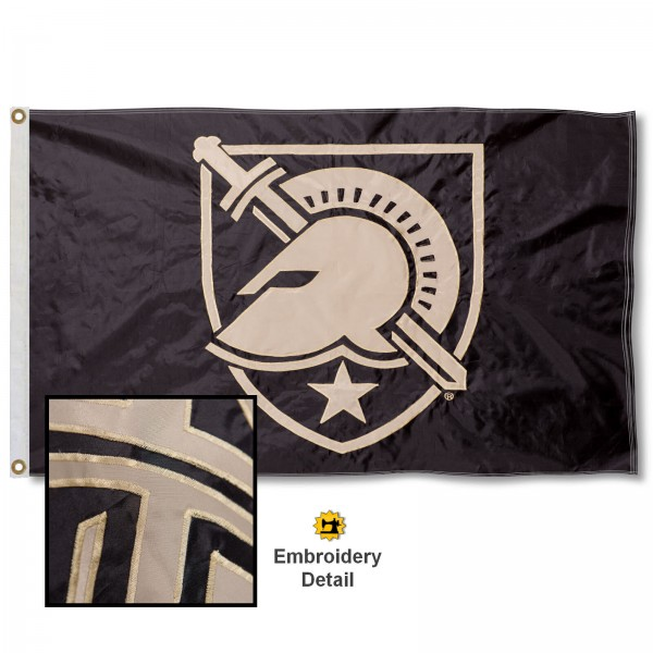 West Point Athena Shield Nylon Embroidered Flag measures 3'x5', is made of 100% nylon, has quadruple flyends, two metal grommets, and has double sided appliqued and embroidered University logos. These West Point 3x5 Flags are officially licensed by the selected university and the NCAA.
