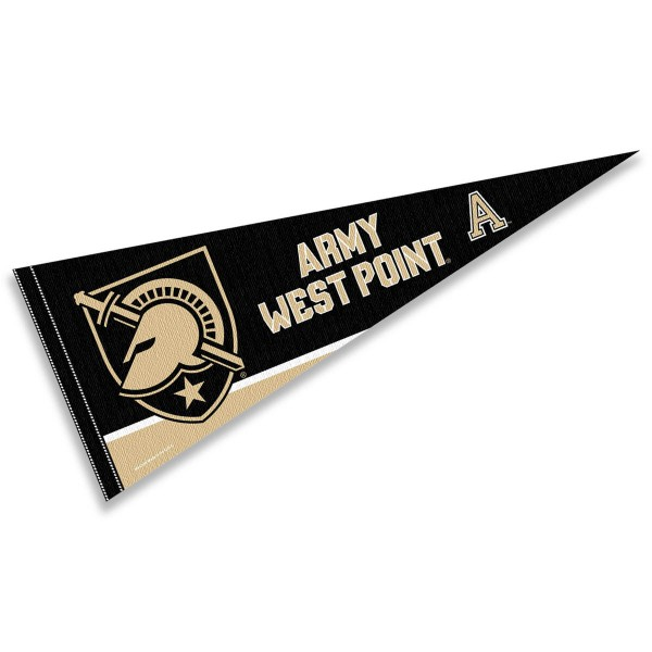 West Point Athletics Pennant measures a full size 12x30 inches, is constructed of felt, is single sided imprinted, and offers a pennant sleeve for insertion of a pennant stick, if desired. This West Point Athletics Pennant is officially licensed by the selected university and the NCAA.