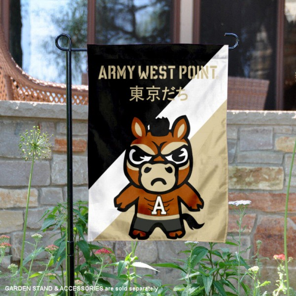 West Point Tokyodachi Mascot Yard Flag is 13x18 inches in size, is made of double layer polyester, screen printed university athletic logos and lettering, and is readable and viewable correctly on both sides. Available same day shipping, our West Point Tokyodachi Mascot Yard Flag is officially licensed and approved by the university and the NCAA.