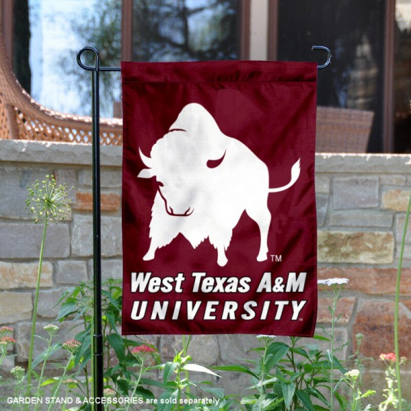 West Texas A&M Buffaloes New Logo Garden Flag is 13x18 inches in size, is made of 2-layer polyester, screen printed university athletic logos and lettering, and is readable and viewable correctly on both sides. Available same day shipping, our West Texas A&M Buffaloes New Logo Garden Flag is officially licensed and approved by the university and the NCAA.