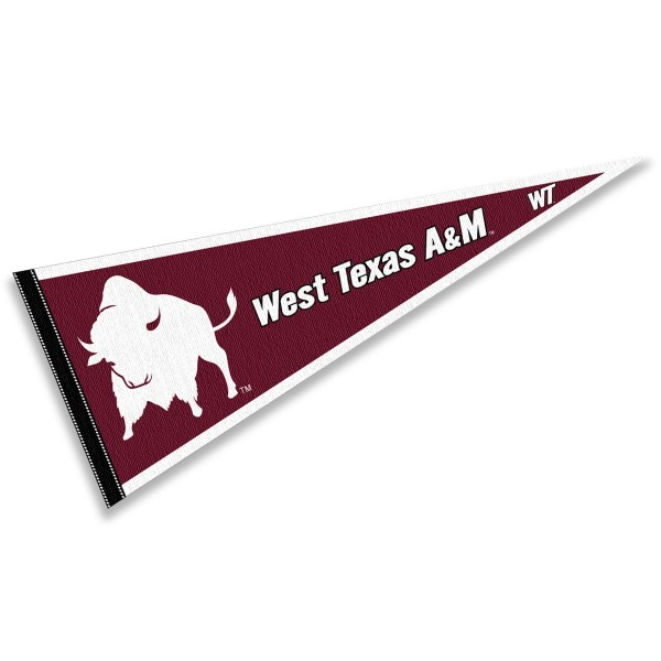 West Texas A&M University Buffaloes Pennant consists of our full size sports pennant which measures 12x30 inches, is constructed of felt, is single sided imprinted, and offers a pennant sleeve for insertion of a pennant stick, if desired. This West Texas A&M University Buffaloes Pennant Decorations is Officially Licensed by the selected university and the NCAA.